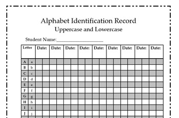 letter recognition data set alphabet identification record sheet by chelsey r tpt 9132