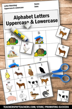 Upper Case and Lower Case Letters, Kindergarten Alphabet Interactive Notebook