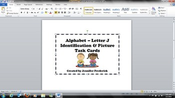 Alphabet - J - Letter and Picture Identification Task Card