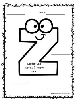 Alphabet Journal U-Z PLUS Graphic Organizers! Whole Class & Individual Work