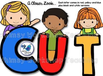 Alphabet Kids Clip Art (104 graphics) Whimsy Workshop Teaching