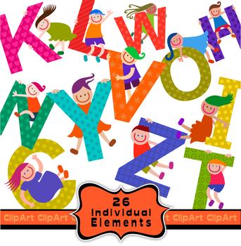 Alphabet Kids Clip Art Font Set