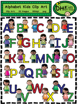 Alphabet Kids Clip Art - Personal and Commercial Use