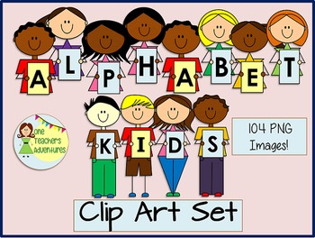 Alphabet Kids Clip Art Set - 104 images for personal and commercial use!