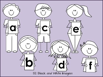 Alphabet Kids Clip Art Set -Lowercase- for personal and commercial use