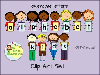 Alphabet Kids Clip Art Set -Lowercase- for personal and co