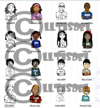 Alphabet Kids I-P Clip-Art! BW & Color, 16 Pieces Total!