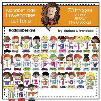 Alphabet Kids Lowercase Letters Clip Art Set