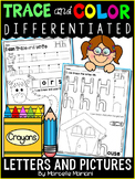 Alphabet LETTERS & PICTURES TRACING  WORKSHEETS- DIFFERENTIATED