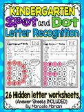 Alphabet LETTER RECOGNITION Worksheets-Color or Dab-HIDDEN LETTERS- kindergarten