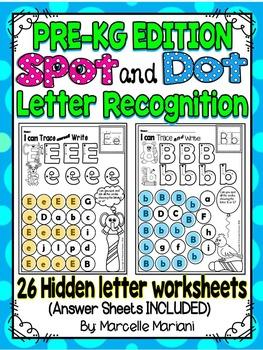 Alphabet LETTER RECOGNITION Worksheets-Color or Dab -HIDDEN LETTERS- PRE-KG