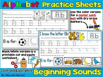 Alphabet LETTER TRACING & BEGINNING SOUNDS WORKSHEETS & WORK MATS