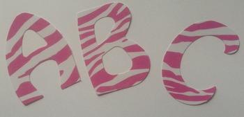 "Pink Zebra Alphabet Laminated 2"" letters 78pcs"