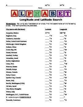 Alphabet Latitude and Longitude Activity