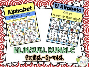 Alphabet Learning Map Posters in English and Spanish Bilingual Bundle