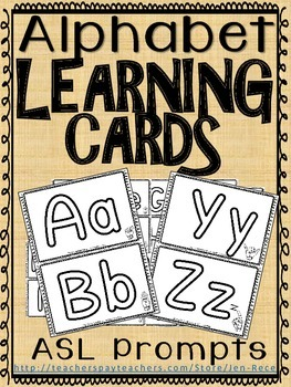 Alphabet Learning cards - Lowercase, Uppercase and American Sign language