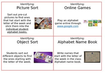 Alphabet Lesson Idea Cards