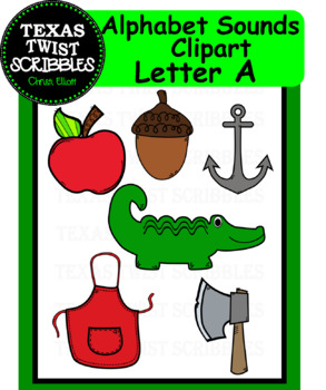Beginning Letter Sound Clipart Letter A Long and Short {Texas Twist Scribbles}