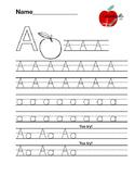 "Alphabet Letter ""A"" Writing Practice Worksheet"
