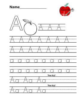 "Alphabet Letter ""A"" Writing Practice Worksheet"