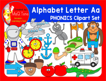 Alphabet Letter Aa Phonics Clipart Set