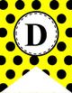 Alphabet Letter Banner (Yellow and Black Polka Dot)