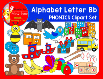 Alphabet Letter Bb Phonics Clipart Set
