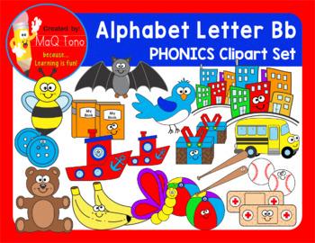 Alphabet Letter Bb Phonics Clipart Set