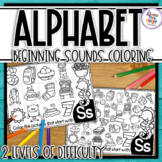 Alphabet Letter Beginning Sound Picture Search Coloring Pages - 2 Levels