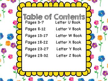 Alphabet Letter Books U-Z
