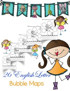 Alphabet Letter Bubble Maps in English