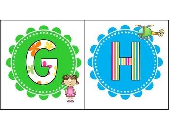 Alphabet Letter Card Set Green and Blue