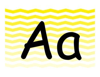 Alphabet Letter Cards 3 Set Pack Ombre Yellow Chevron Theme