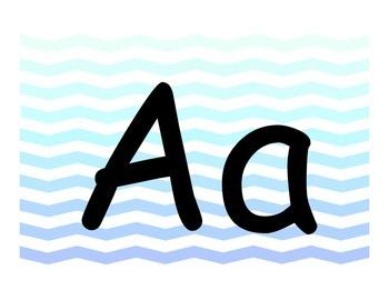 Alphabet Letter Cards 3 Set Pack Ombre Blue Chevron Theme