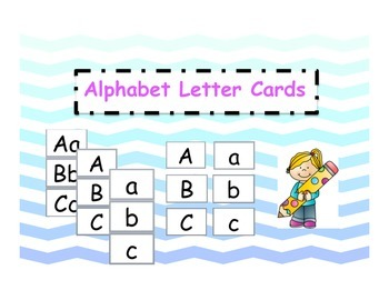 Alphabet Letter Cards 3 Set Pack Ombre Blue Chevron Theme