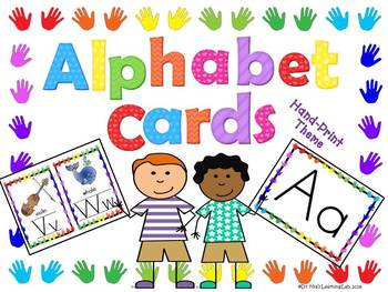 Alphabet Letter Cards (Classroom Organization Handprint Theme)
