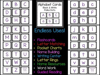 Alphabet Letter Cards ~ Black and White Polka Dot ~  Capital and lowercase