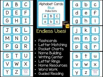 Alphabet Letter Cards ~ Blue Polka Dot ~  Capital and lowercase