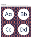 Alphabet Letter Cards Navy And Orange Polka Dots