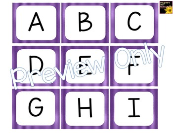 Alphabet Letter Cards ~ Purple Polka Dot ~  Capital and lowercase