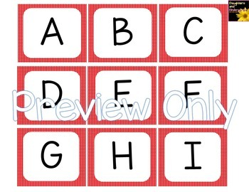 Alphabet Letter Cards ~ Red Polka Dot ~  Capital and lowercase