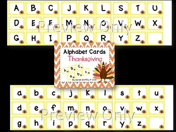 Alphabet Letter Cards ~ Thanksgiving ~  Capital and lowercase