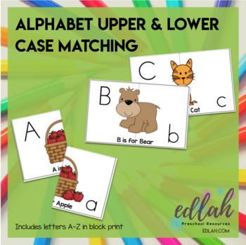 Alphabet Letter Case Matching for Pocket Charts
