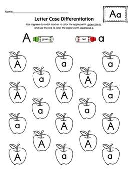Alphabet Letter Case Recognition Worksheet Set