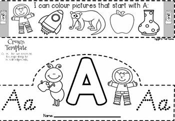 Alphabet Letter Crowns in Victorian Cursive Font