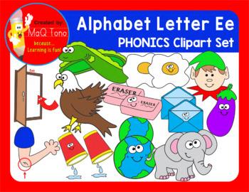 Alphabet Letter Ee Phonics Clipart Set