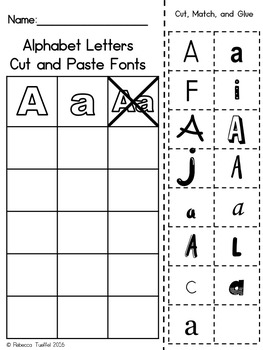 Alphabet Letter Font Cut and Paste Activity