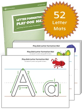 Alphabet Letter Formation Play-Doh Mat Activity Set {COLOR+BW}
