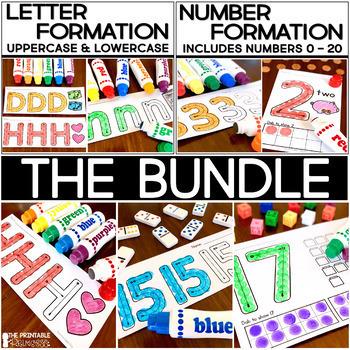 Alphabet Letter Formation and Number Formation Practice: No Prep BUNDLE