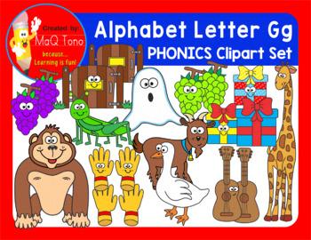 Alphabet Letter Gg Phonics Clipart Set